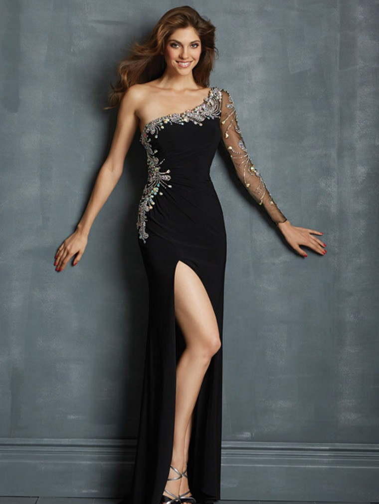 2015 Top One Sleeve Long Prom Dress
