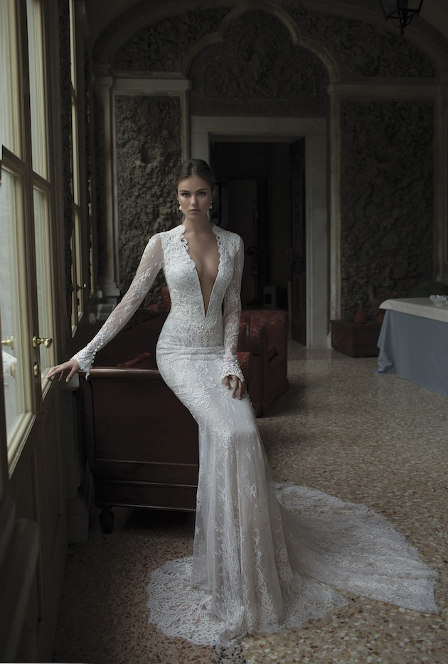 Deep V Neck Bridal Gowns Long Sleeves Floor Length Sheath Backless