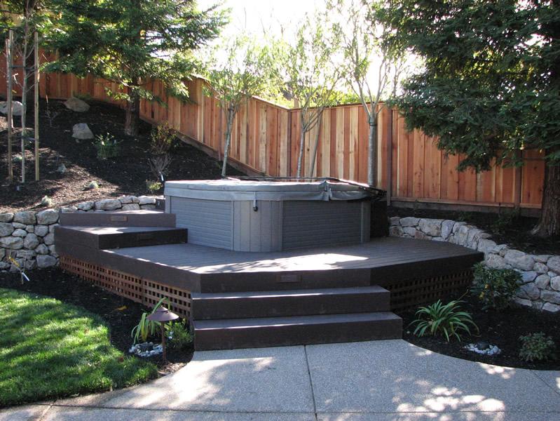 Hot Tub Backyard Design Large