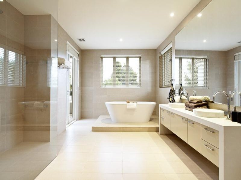 Modern bathroom design with bi-fold windows