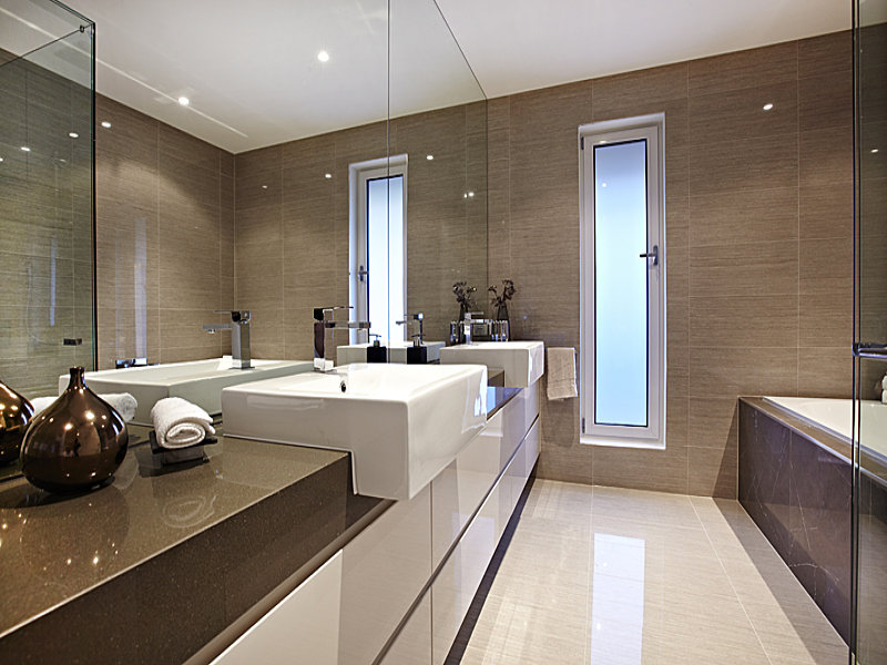 Modern bathroom design with recessed bath1