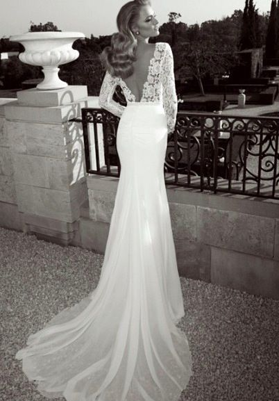Backless wedding dresses with sleeves for Lace sleeve backless wedding dress