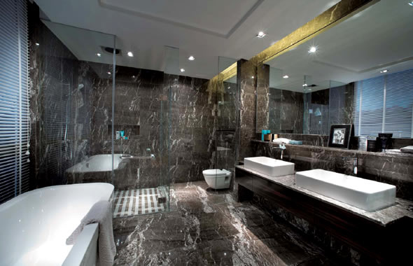 Super Luxury Bathroom Decoration Dark Marble Wall And Floor Design