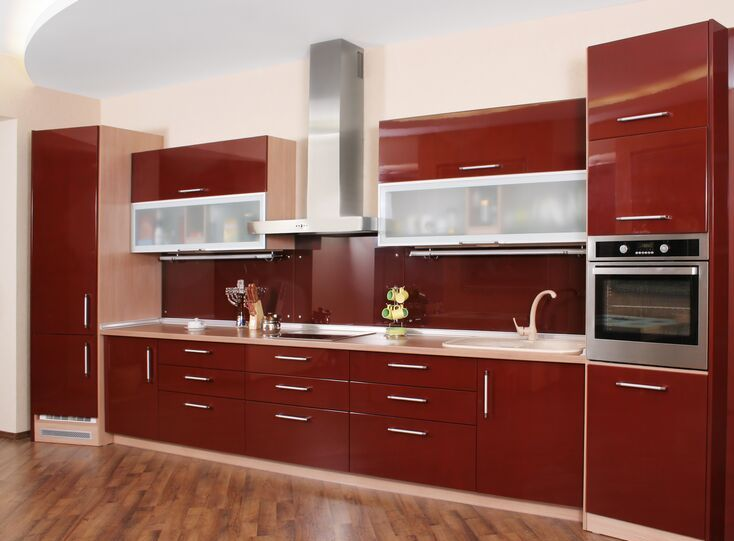 kitchen-cabinets-modern-red