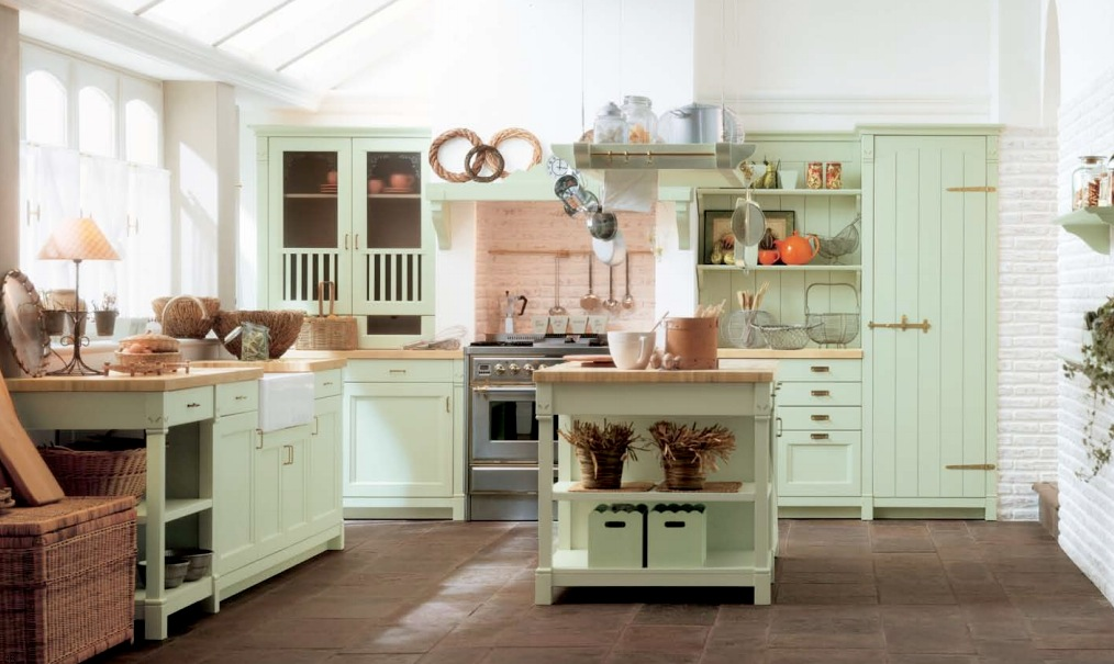mint green country kitchen decor 20 Country Style Kitchen Decor Ideas