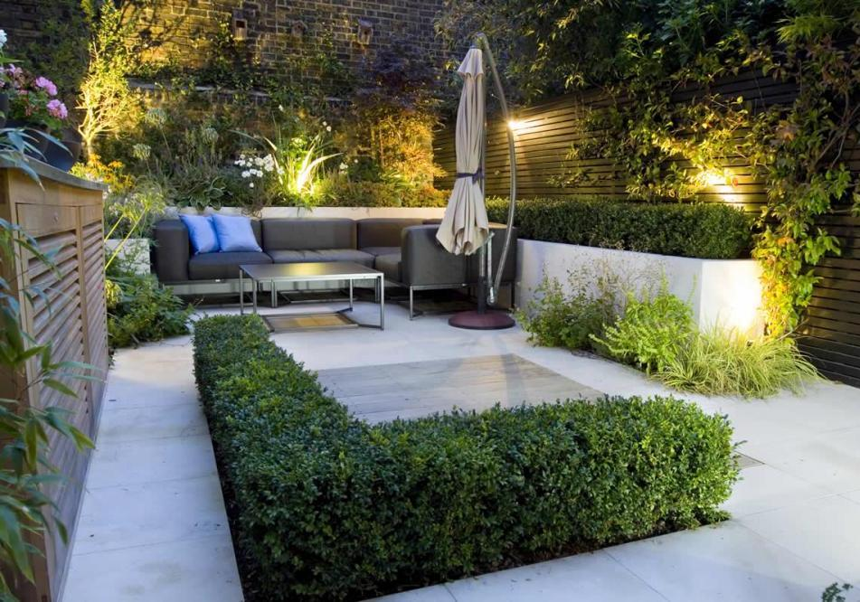 small garden lighting ideas with patio furniture