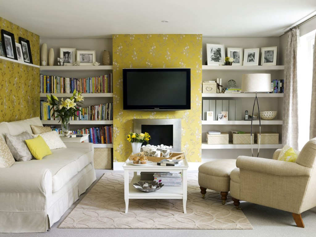 yellow-wallpaper-living-room