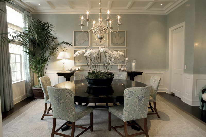 Asian-Inspired-Dining-Room-Furniture-With-Orchid-Flower-Ornament