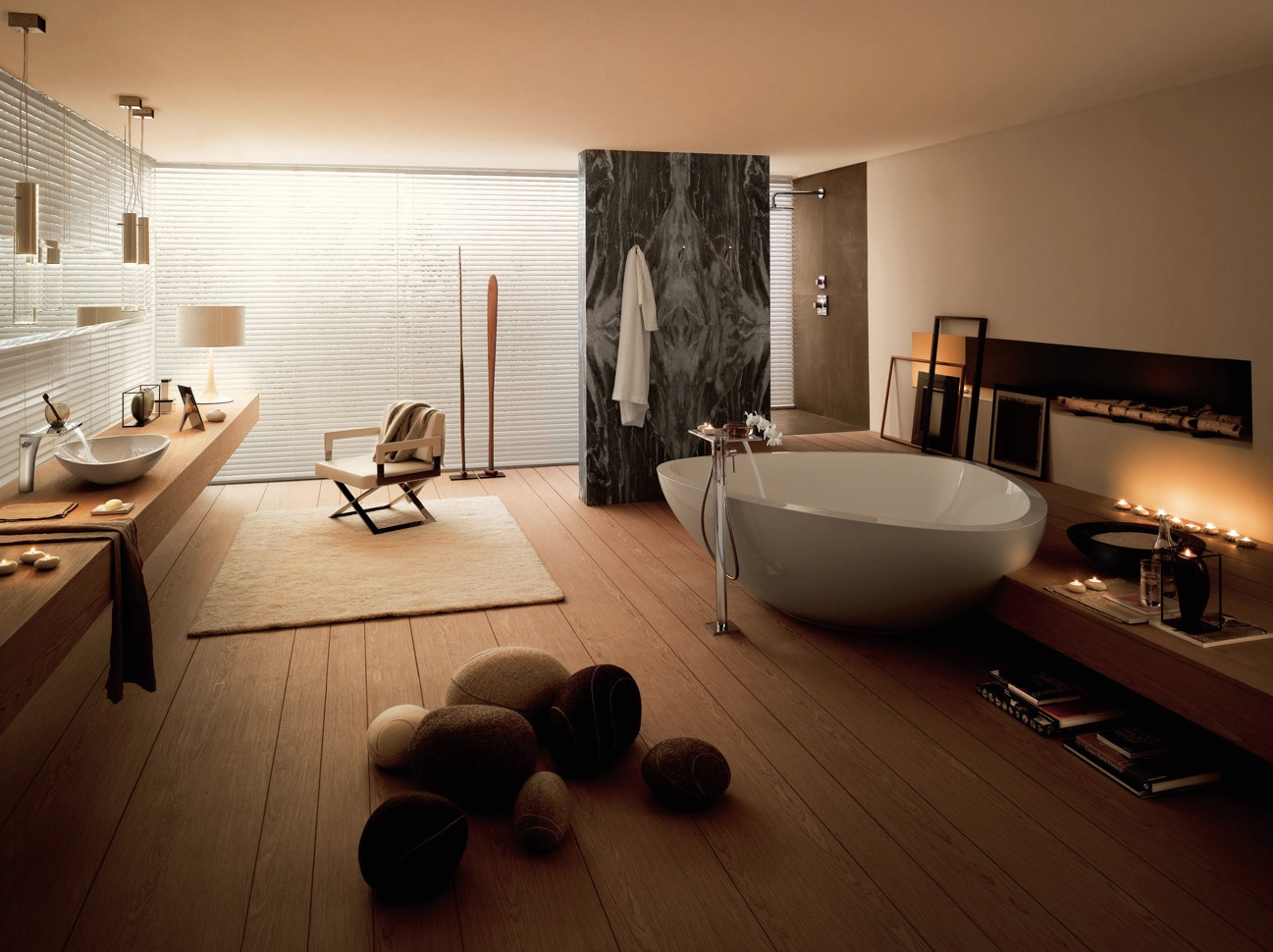 Bathroom-Design-with-Modern-Bath-Tub-Little-Stone-Chair-Fur-Carpet-Art-Door-Unique-Lamp-Laminated-Long-Table-and-Floor