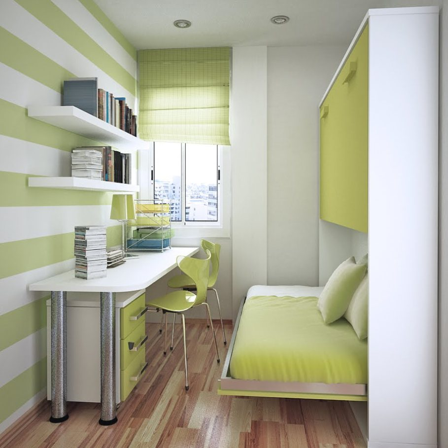 Bedroom-Decorating-Ideas-With-Table-Chair-Bed-Pillow-Blanket-Bookcase-Books-Window-For-Small-Room