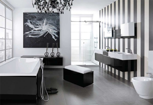 Incroyable Black And White Bathroom
