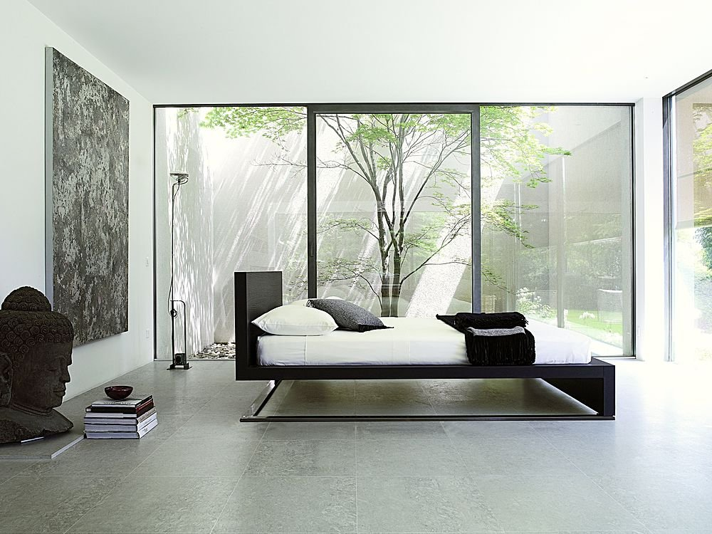 Contemporary Asian Bedroom Design Buddha Statue Floating Bed