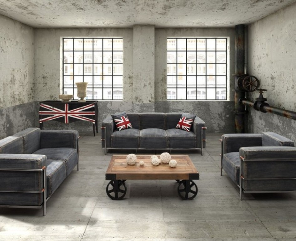 25 best industrial living room designs for Cool living room furniture