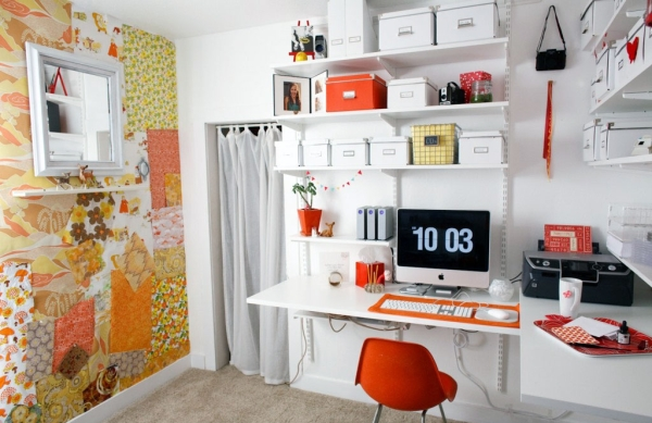 Creative Feature Wall Home Office Design