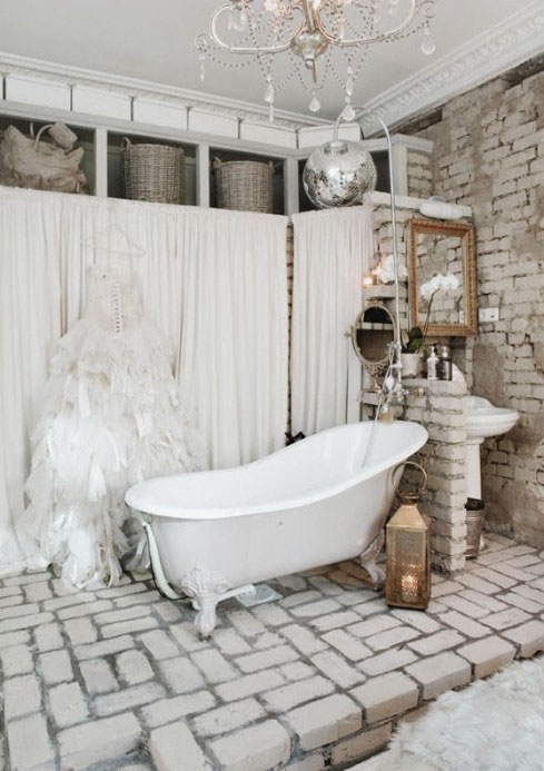 Eclectic-White-Stone-Bathroom-Design-Ideas-with-Charming-Bathtub