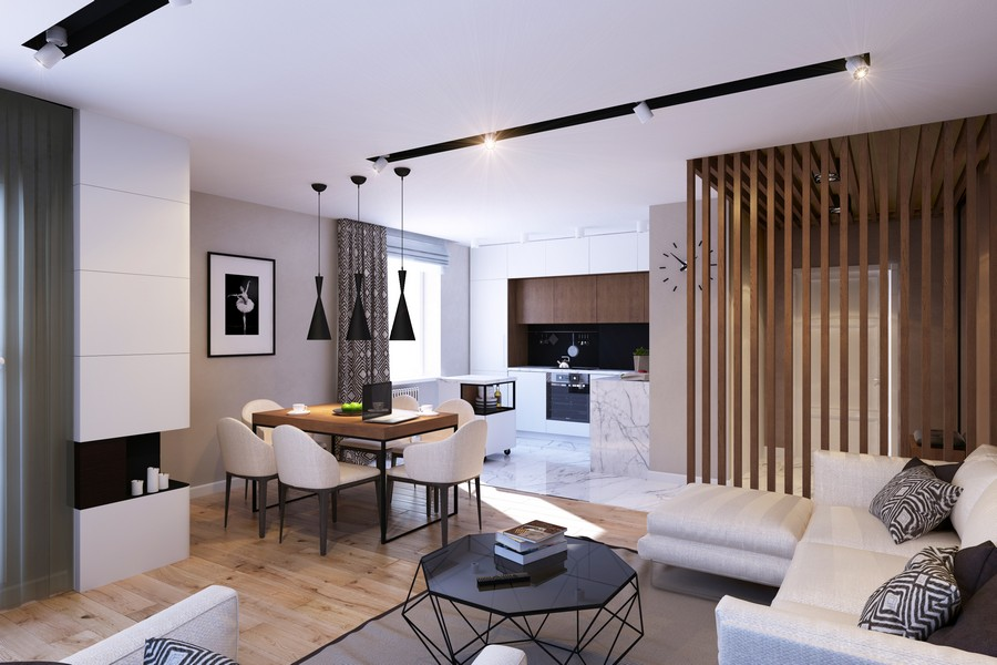 GEOMETRIUM Stylish Open Layout Apartment Designs 2015 Vertical