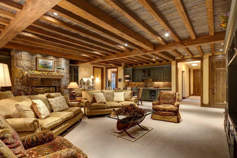 Lovely-Basement-Ceiling-Ideas-Decorating-Ideas-Gallery-in-Family-Room-Traditional-design-ideas-