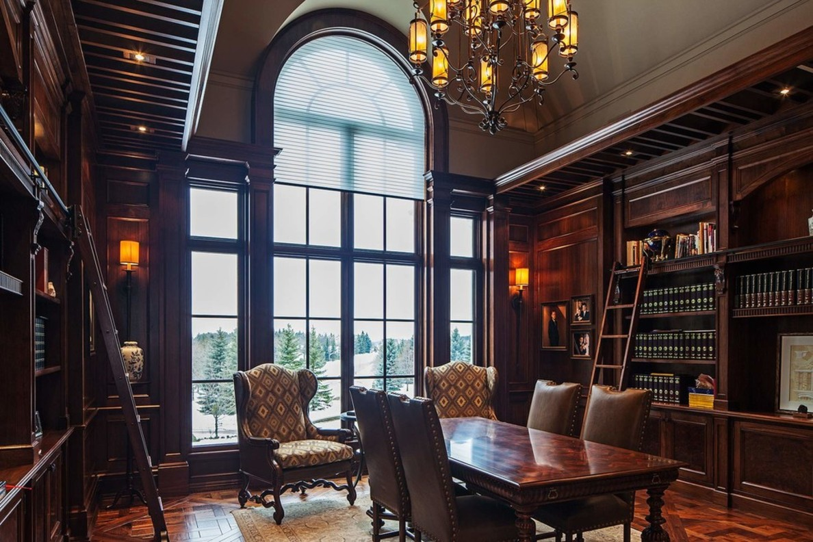 Mesmerizing-traditional-home-office-design-pictures-with-glass-windows-and-classic-lamps