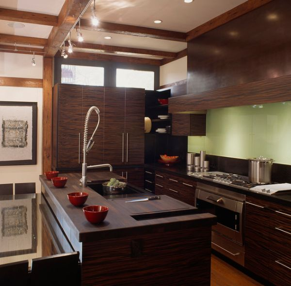 Modern-Asian-kitchen-design-engulfed-in-ample-dark-wood