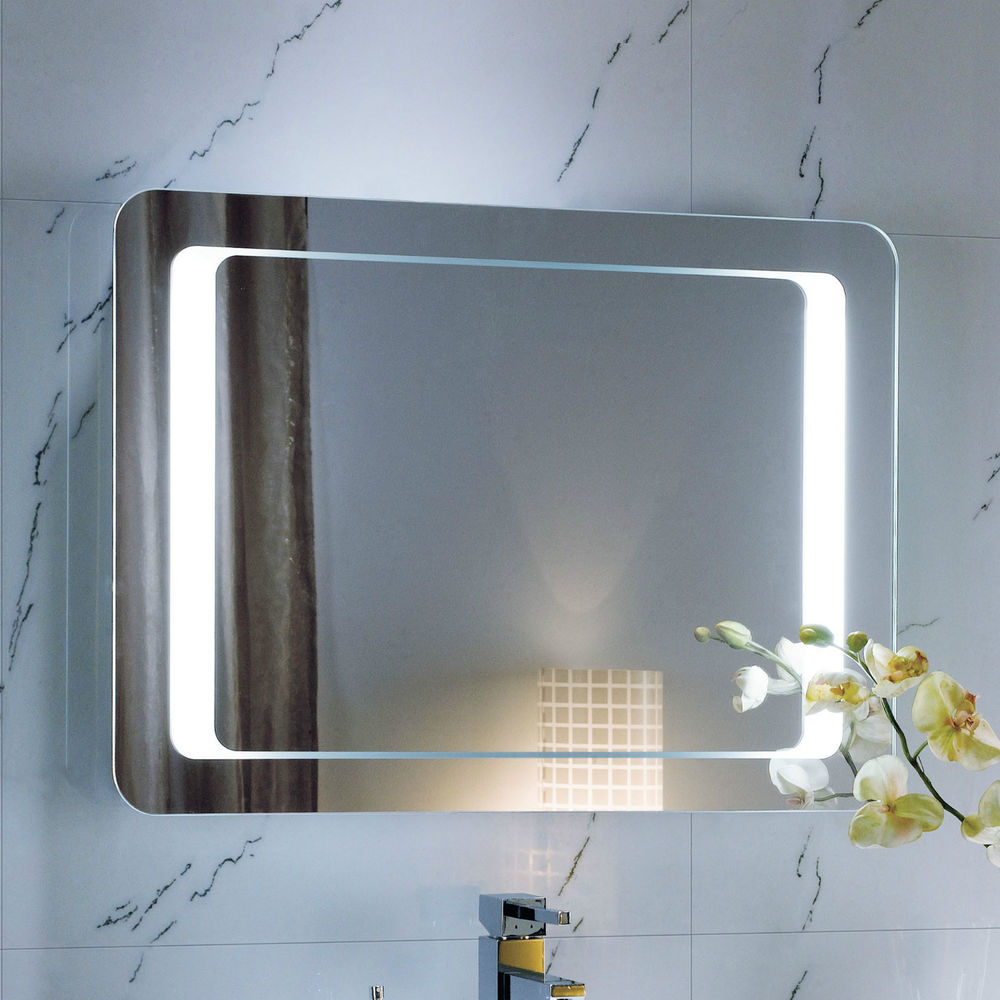 Modern Backlit Slimline Illuminated Bathroom Mirrors with Light Sensor Switch