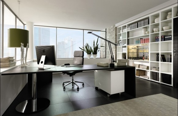Modern Home Office With L Shaped Glass Desk