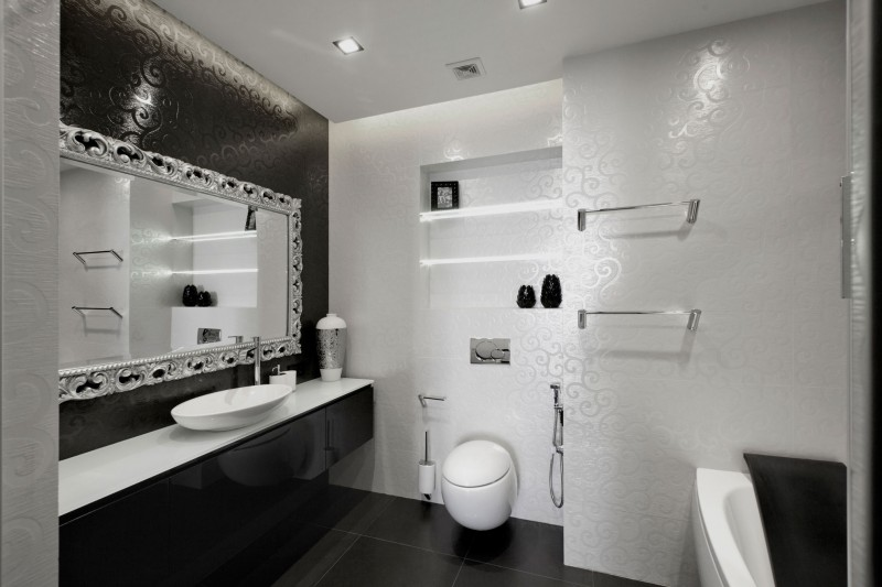 Wonderful Stunning Lighting Inside Black And White Bathroom