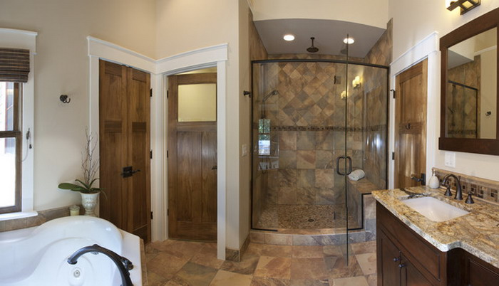 Wood-Door-in-Beautiful-Craftsman-Bathroom