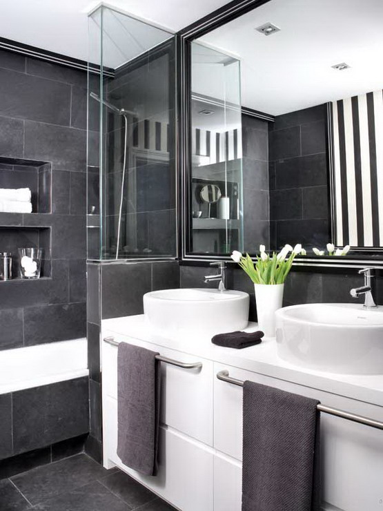 Attractive 21 Cool Black And White Bathroom Design Ideas