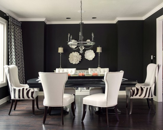 captivating-modern-dining-room-with-black-and-white-furniture-set-also-wonderful-chandelier-design-also-black-wall-color-and-white-ceiling-color-also-dark-brown-laminate-floor