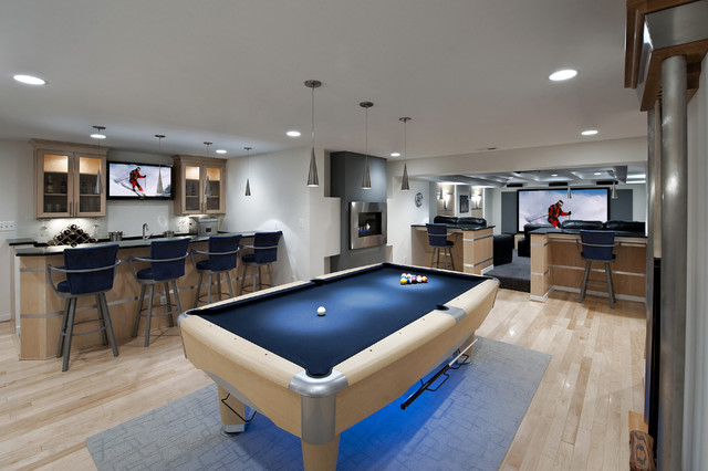 21 Stunning Contemporary Basement Designs