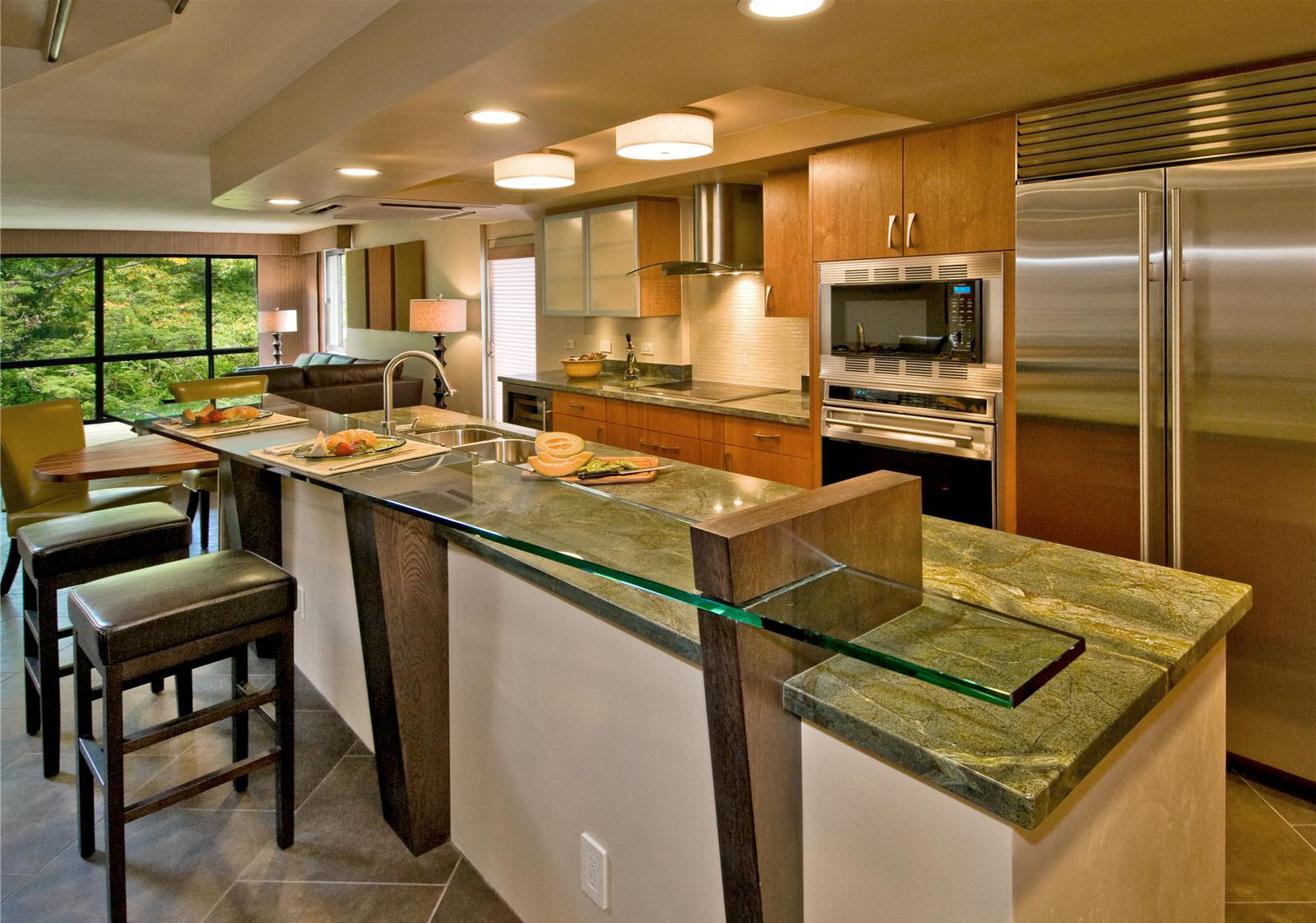 Creative Open Kitchen With Breakfast Counter Designs On