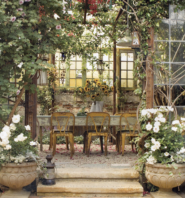 eclectic-patio-with-nice-adorable-cool-wonderful-fantastic-houzz-outdoor-kitchen-design-with-many-plants-and-flowers-decoration-with-rustic-dining-table