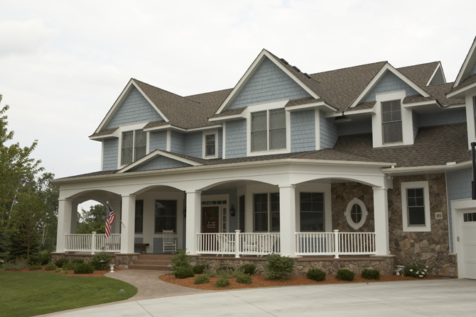 Elegant Traditional Home Exterior Blue Shaker Siding Patriotic