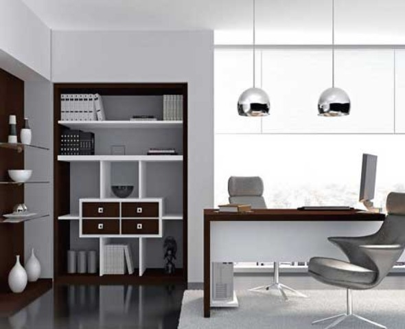 Excellent Modern Home Office Design With Elegant Silver
