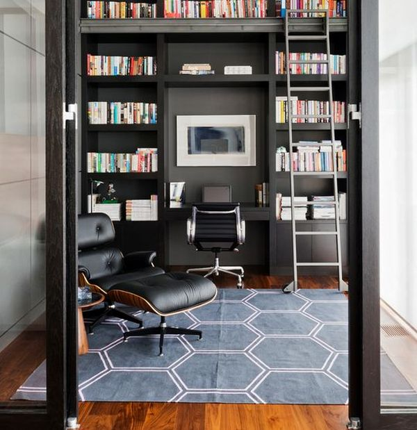 Stunning Modern Home Office Designs. Masculine Office  With Library And Eames Lounge Chair