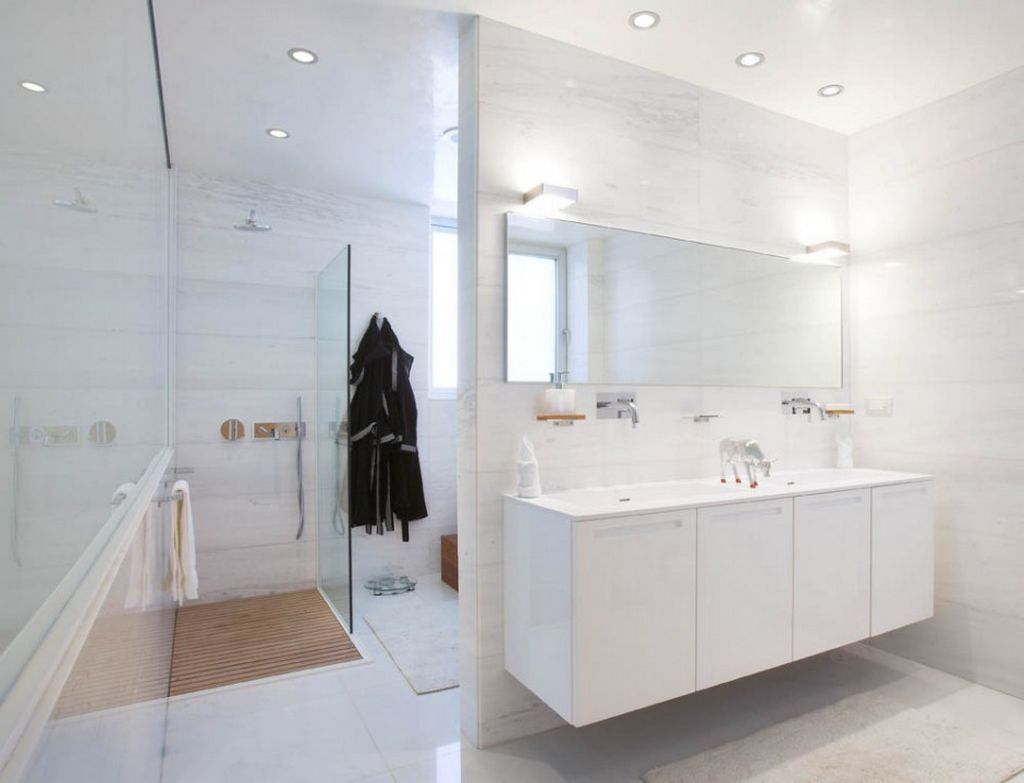 Modern bathroom white new home decorating ideas for All white bathrooms ideas