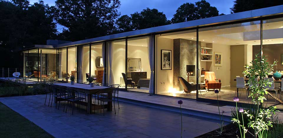 modern glass house nightview - Download Modern Small Glass House Designs Background