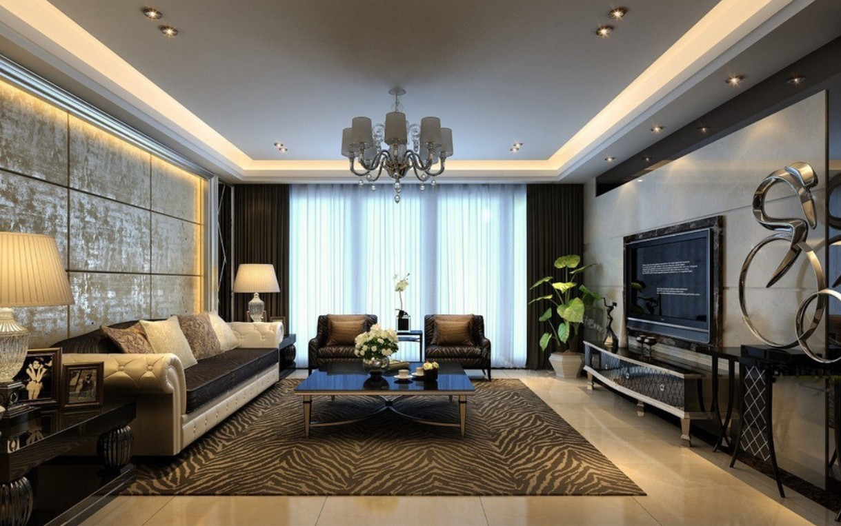 modern living room dark - Luxury Living Room Decorating Ideas