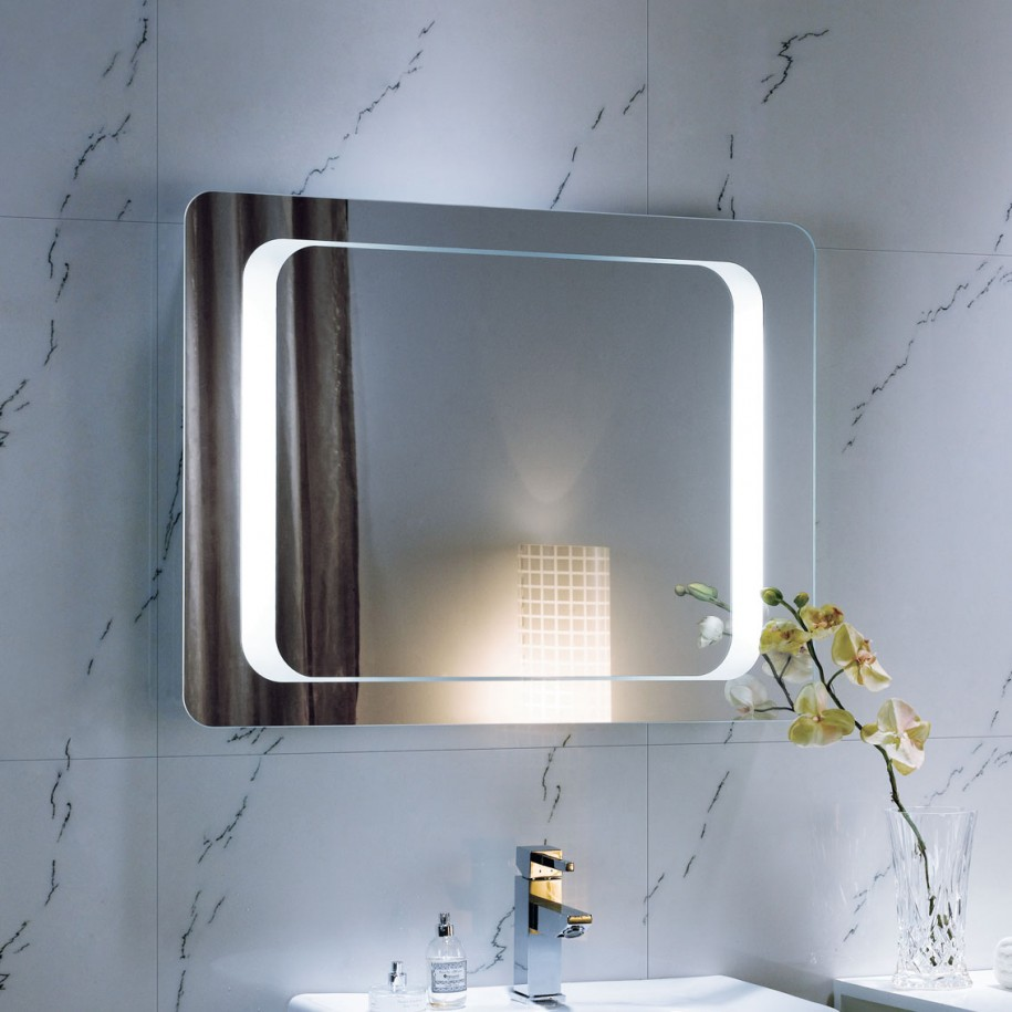 Modern Luxury Bathroom Blue Interior Mirrors White