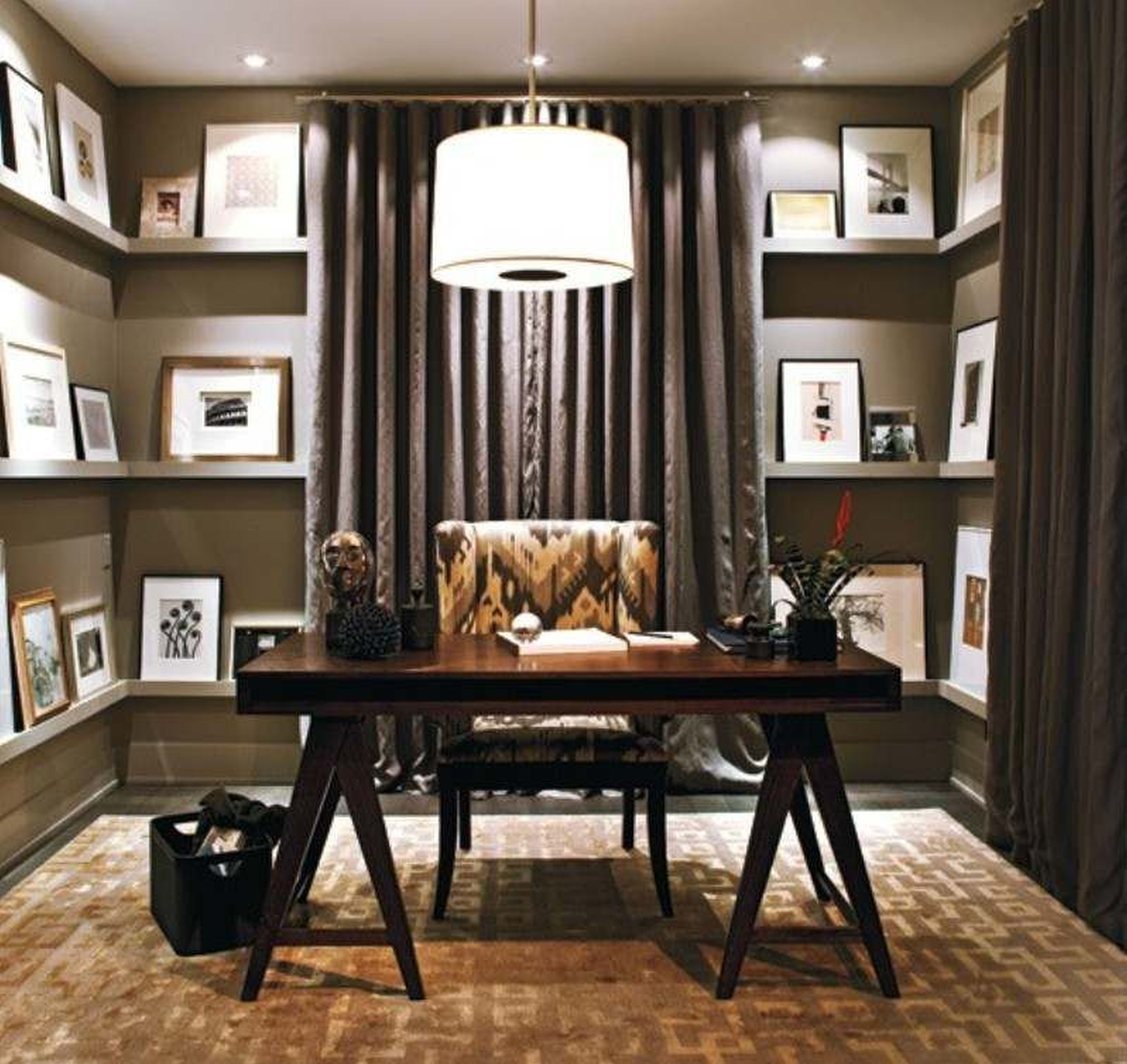 office-interior-adorable-modern-home-office-decor-ideas-with-drum-shade-pendant-lamps-alsu-u-shape-cabinets-ideas