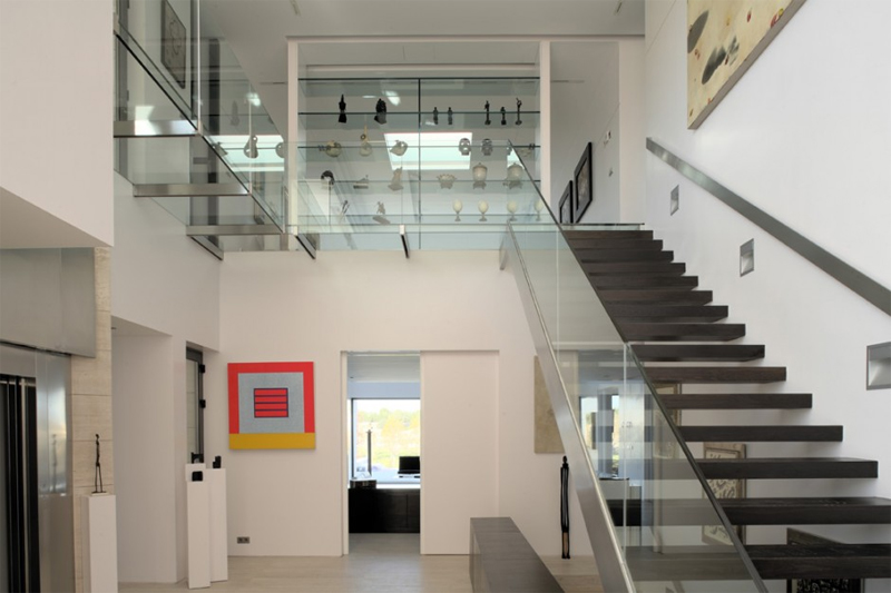 Staircase With Glass Railings