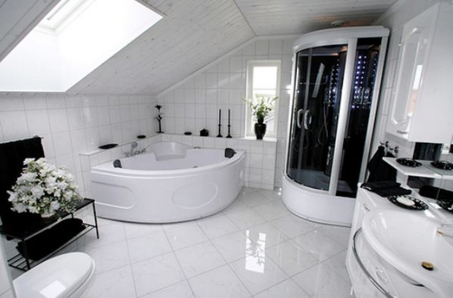stylish-black-and-white-bathroom-design-with-skylights-ideas-and-corner-small-shower-area-with-modern-bathtub-and-tile-white-flooring