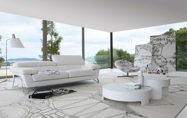 White Sofa Couch Living Room Furniture Roche Bobois4