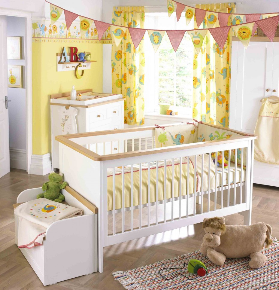 3 Yellow And White Color Baby Nursery Decor