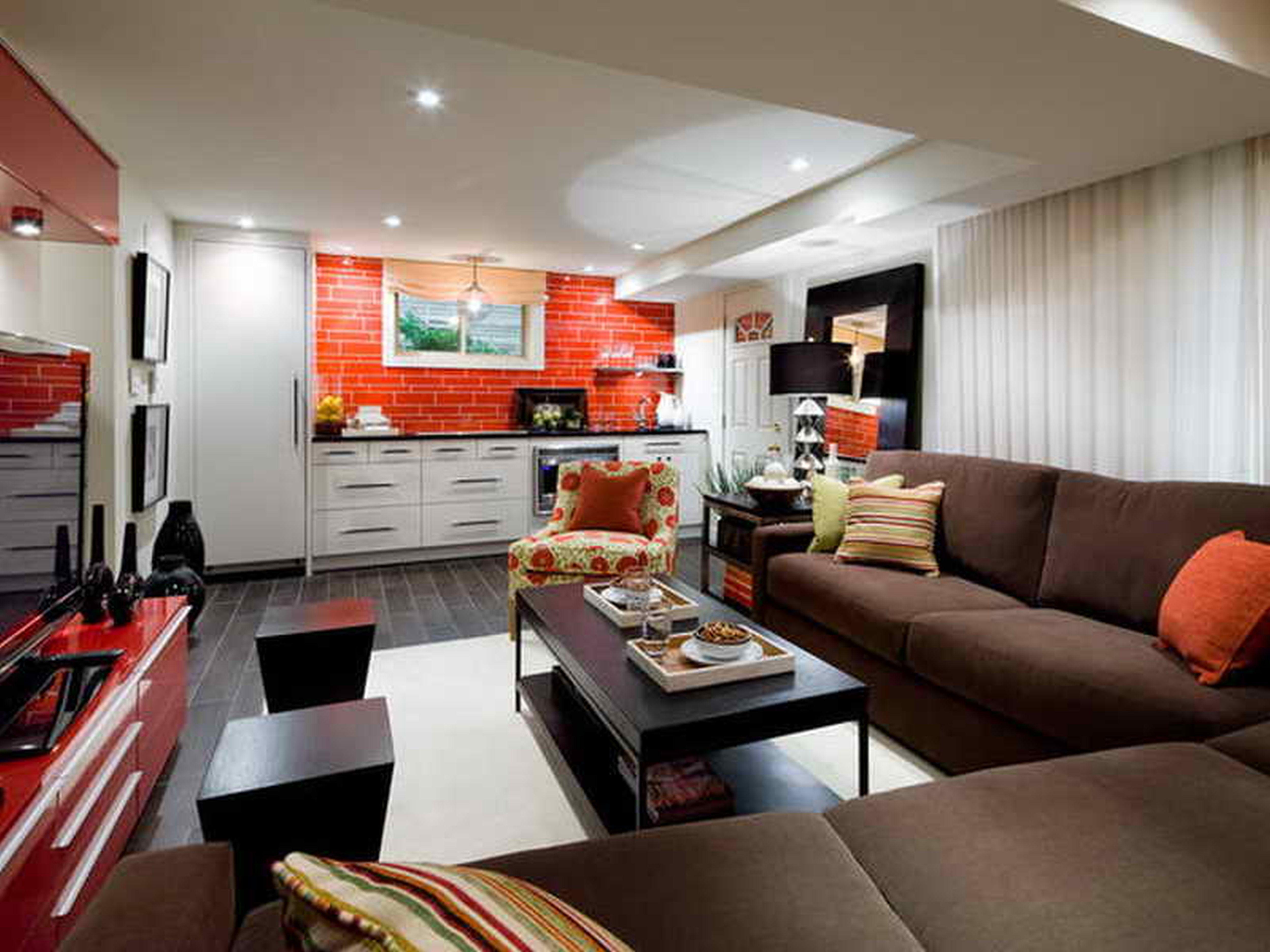 Basement-Color-Ideas-with-brown-sofaLuxury-Basement-Idea
