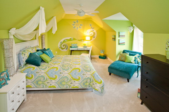 Bright-Green-Bedroom-Design-Scheme