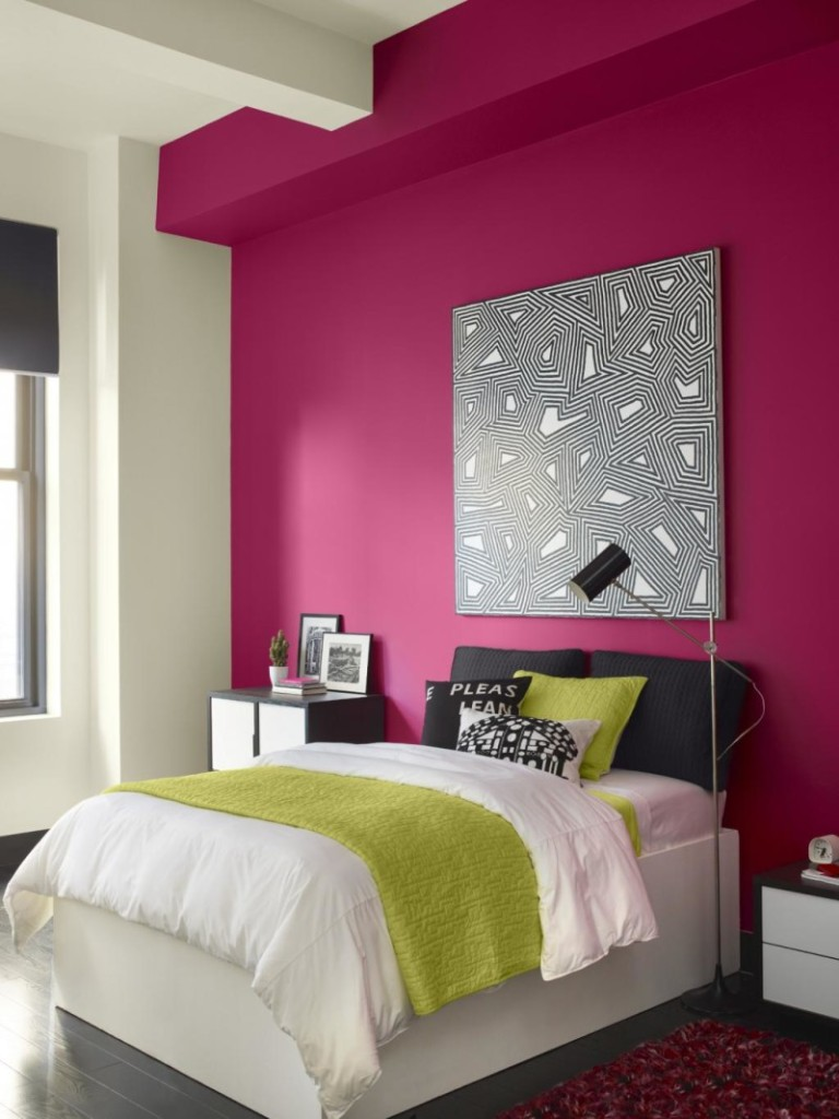 Bright-Pink-Paint-Colour-Schemes-For-Bedrooms-Design