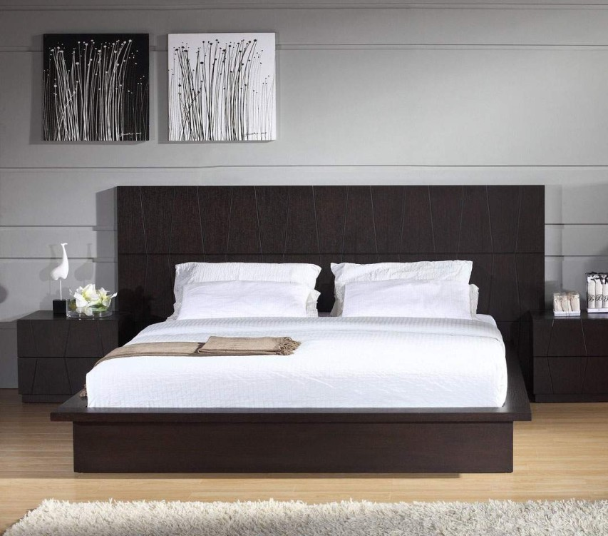Contemporary-Bedroom-With-Brown-Headboards