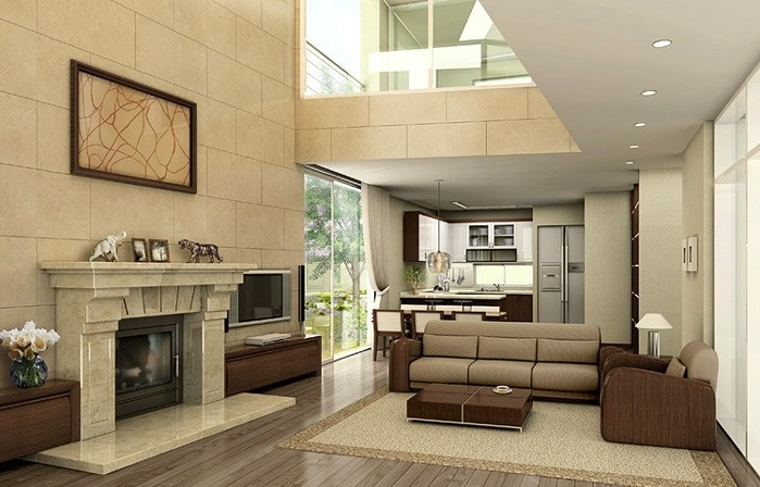 Contemporary-Living-Room-with-High-Ceiling