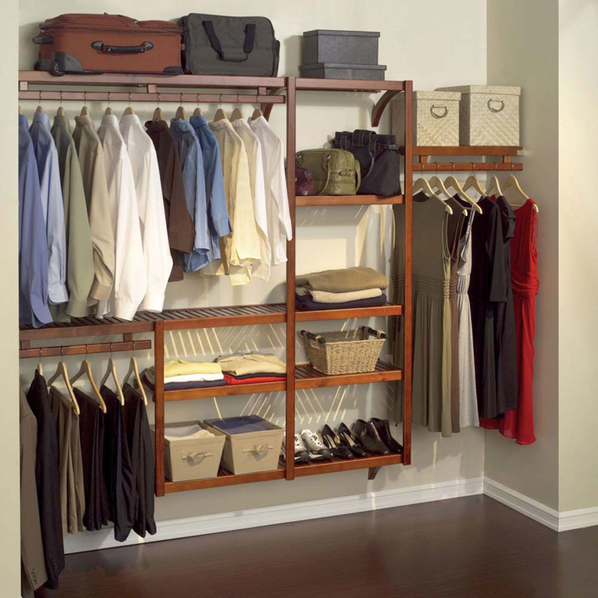Cute-apartment-closet-ideas-with-wooden-rack-and-shelves-for-storing-shoes-and-shirt-closet-shoe-storage-ideas